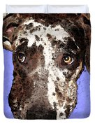 Catahoula Leopard Dog - Soulful Eyes Duvet Cover by Sharon Cummings