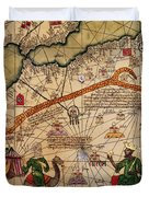 Catalan Map Of Europe And North Africa Charles V Of France In 1381  Duvet Cover by Abraham Cresques