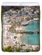 Catalina Island Avalon Waterfront Aerial Photo Duvet Cover