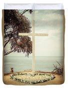 Catalina Island Cross Picture Retro Tone Duvet Cover
