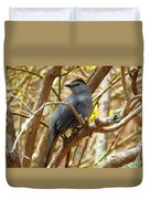 Catbird In Spring Duvet Cover
