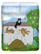 Tabby Cats Falling Duvet Cover