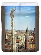 Cathedral And Campanile Milan Italy Duvet Cover