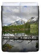 Cathedral Group Reflection On String Lake Duvet Cover