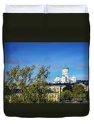 Cathedral Landmark And Central Helsinki View In Finland Duvet Cover