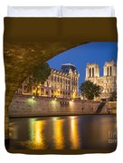 Cathedral Notre Dame And River Seine - Paris Duvet Cover