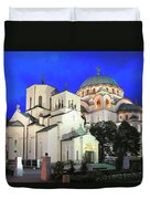 Cathedral Of Saint Sava At Dusk Belgrade Serbia Duvet Cover