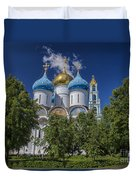 Cathedral Of The Assumption At Trinity Lavra Of St. Sergius In Sergiyev Posad, Russia Duvet Cover