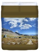 Cathedral Peak Over Waterton Valley Trail - Glacier National Park Duvet Cover
