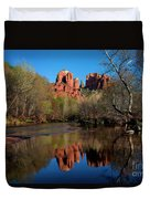 Cathedral Rock Reflection In Oak Creek Duvet Cover