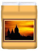 Cathedral Silhouette Sunset Fantasy L A With Alt. Decorative Ornate Printed Frame. Duvet Cover