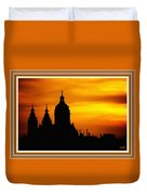 Cathedral Silhouette Sunset Fantasy L B With Decorative Ornate Printed Frame. Duvet Cover