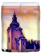 Catholic Church Building, Architectural Dominant Of The City, Graphic From Painting. Duvet Cover