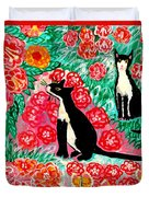 Cats And Roses Duvet Cover