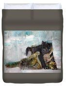 Cats Fighting Duvet Cover