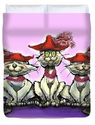 Cats In Red Hats Duvet Cover