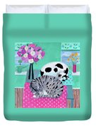 Cats In Spring Duvet Cover