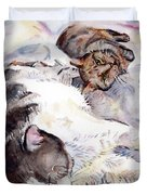 Cats In Watercolor Duvet Cover