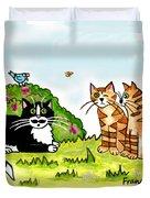 Cats Talking In A Sunny Garden Duvet Cover