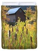 Cattails And Barn Duvet Cover