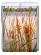 Cattails By The Lake Duvet Cover