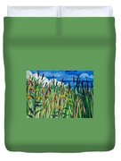 Cattails Duvet Cover by Helen Klebesadel