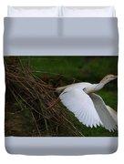 Cattle Egret Begins Flight With Nest Materials - Digitalart Duvet Cover