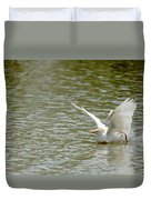 Cattle Egret Cooling Off In The Lake Duvet Cover
