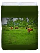 Cattle Grazing In A Lush Pasture Duvet Cover
