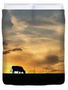 Cattle Sunset Silhouette Duvet Cover