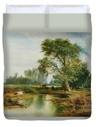 Cattle Watering Duvet Cover by Thomas Moran