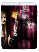 Caught In The Act Of Setting The Stage On Fire Duvet Cover
