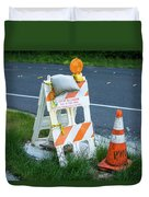 Caution, Road Work Duvet Cover