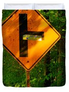 Caution T Junction Road Sign Duvet Cover