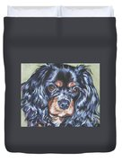 Cavalier King Charles Spaniel Black And Tan Duvet Cover by Lee Ann Shepard