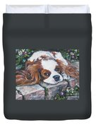 Cavalier King Charles Spaniel In The Pansies  Duvet Cover by Lee Ann Shepard