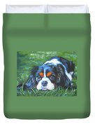 Cavalier King Charles Spaniel Tricolor Duvet Cover by Lee Ann Shepard