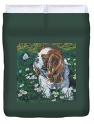 Cavalier King Charles Spaniel With Butterfly Duvet Cover by Lee Ann Shepard