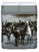 Cavalry In An Arizona Sandstorm 1889 Duvet Cover