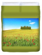 Cedar Grove And Poppies Duvet Cover
