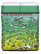 Cedar Park Texas Cartoon Map Duvet Cover