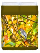 Cedar Waxwing In Autumn Leaves Duvet Cover