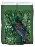 Cedar Waxwing In Lilac Duvet Cover