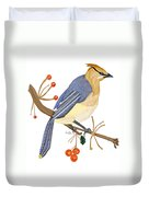 Cedar Waxwing In The Berries Duvet Cover