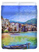 Cefalu Sicily Italy Duvet Cover