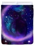 Celestial Crescent Moon Cat  Duvet Cover