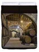 Cellar With Wine Barrels Duvet Cover