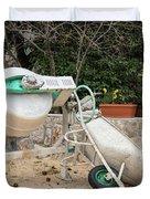 Cement Mixer And A Wheelbarrow In Croatia Duvet Cover