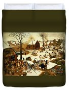 Census At Bethlehem Duvet Cover by Pieter the Elder Bruegel