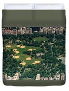 Central Park North Meadow In New York City Aerial View Duvet Cover